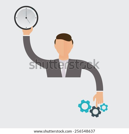 Businessman holding a clock and pointing to a mechanism. Work productivity management concept. - stock vector
