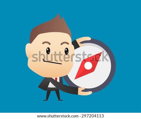 Businessman holding a compass - vector illustration, EPS10 - stock vector