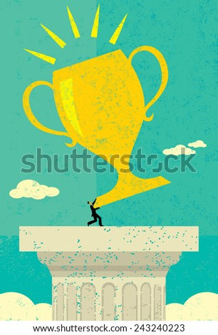 Businessman holding a trophy A businessman achieving his goal and raising his trophy atop a pedestal. The man & trophy and background are on separate labeled layers. - stock vector