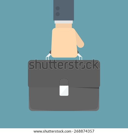 businessman holding bag - stock vector