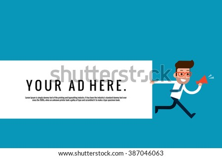 Businessman holding blank notes - stock vector