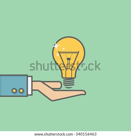 businessman holding bulb - stock vector