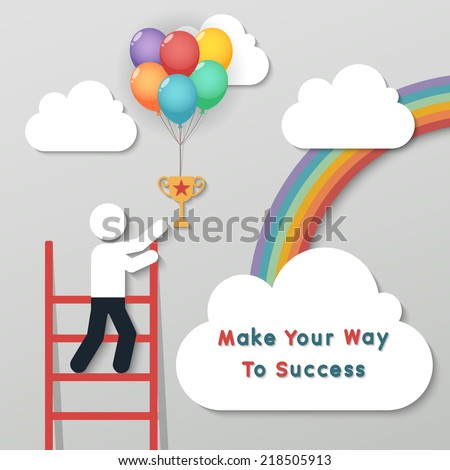 businessman holding bunch of money dollar sign balloons on rainbow sky background. idea leadership business plan concept in modern flat style. vector - stock vector