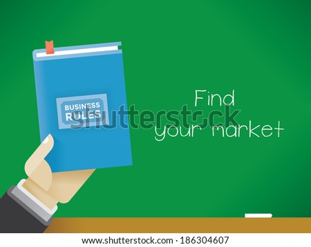 """Businessman holding Business Rules book with text """"Find your market"""" on the chalkboard - stock vector"""