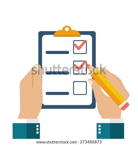 Businessman holding checklist and pencil. Questionnaire, survey, clipboard, task list. Icon flat style vector illustration. Filling out forms, planning - stock vector