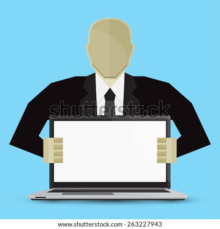 Businessman holding computer two hands on a blue background. - stock vector