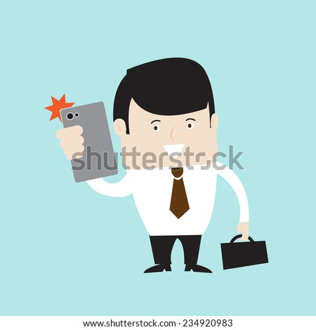 Businessman holding mobile phone and making selfie shot. Vector EPS 10.      - stock vector