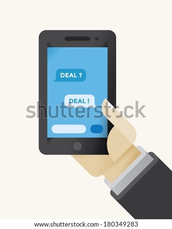 Businessman holding mobile phone with business messages Deal? and Deal! answer on the screen. - stock vector