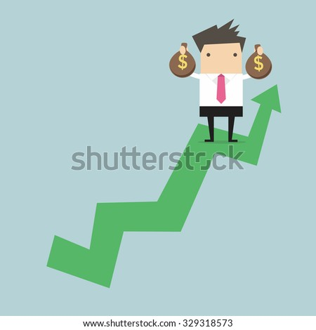 Businessman holding money bag on growing graph. - stock vector