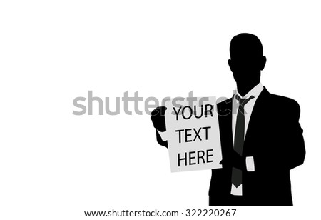 businessman holding paper with space for you text - stock vector