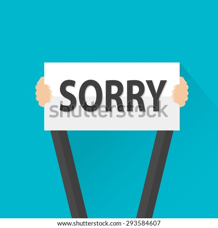 Businessman holding sorry sign, vector - stock vector