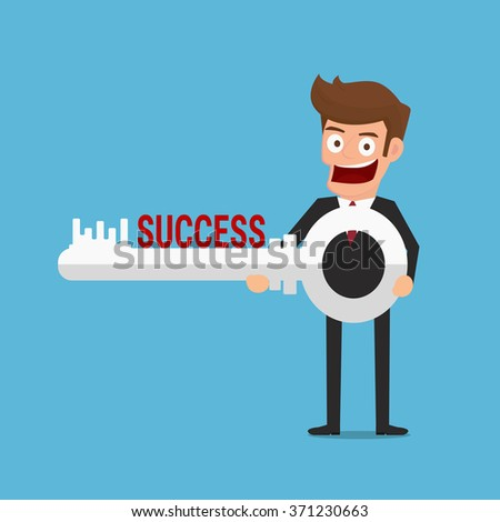 Businessman holding success key. Success concept. Cartoon Vector Illustration.  - stock vector