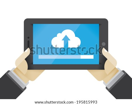 Businessman holding tablet computer with cloud server uploading. Idea - Cloud technologies in modern business, File hosting, Data storage. - stock vector