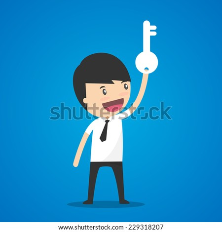 Businessman holding the key. - stock vector