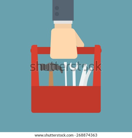 businessman holding tool box - stock vector
