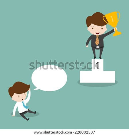Businessman holding trophies,Vector EPS 10  - stock vector