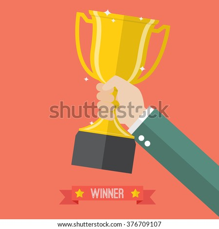 Businessman holding up a champion trophy. Business concept - stock vector