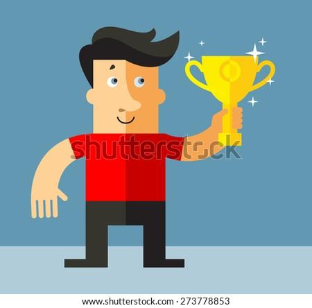 Businessman holding winning trophy.  Business flat vector illustration. - stock vector