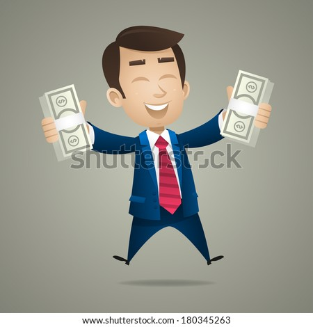 Businessman holds in hand dollar banknotes - stock vector