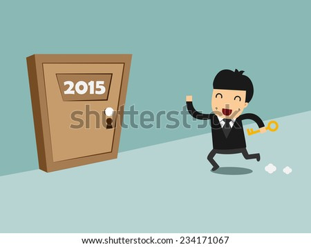 Businessman holds the key and running to the door, 2015 New Year concept - stock vector