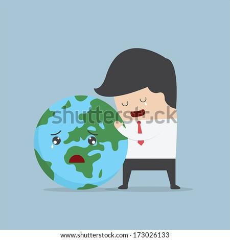 Businessman hug the world, VECTOR, EPS10 - stock vector
