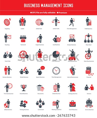 Businessman, Human resource icon set,red version,clean vector - stock vector
