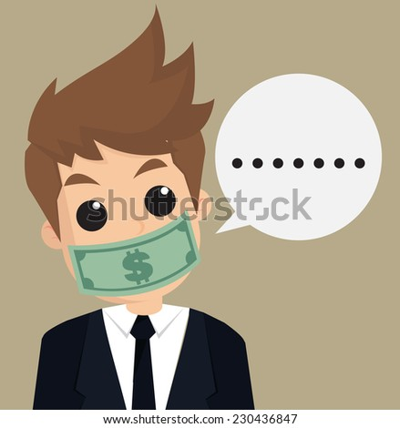 businessman hush money.vector - stock vector
