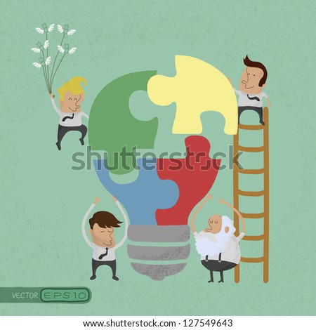 Businessman idea assembly , eps10 vector format - stock vector