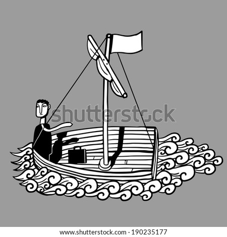 Businessman in a boat - stock vector