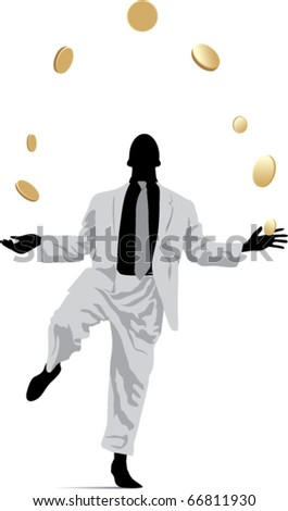 Businessman in a suit juggles coins - stock vector