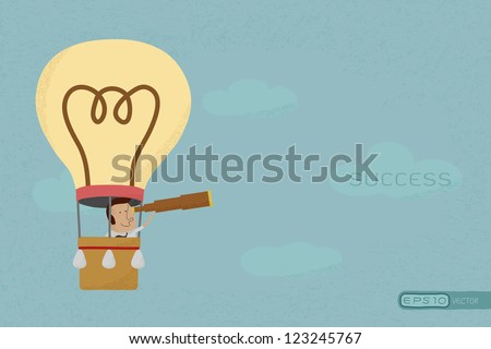 Businessman in balloon search to success , eps10 vector format - stock vector