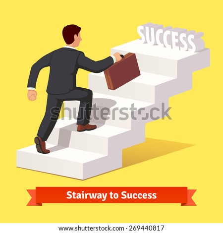 Businessman in black suit with suitcase climbing the stairs of success. Flat style vector illustration. - stock vector