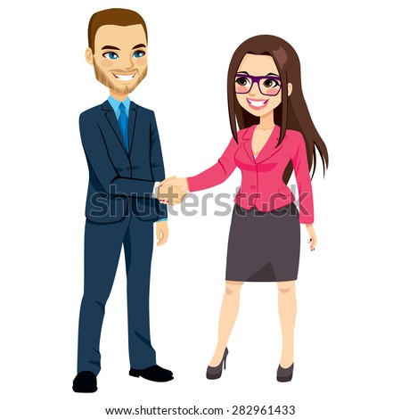 Businessman in blue suit shaking hands with businesswoman in pink suit happy standing negotiating - stock vector