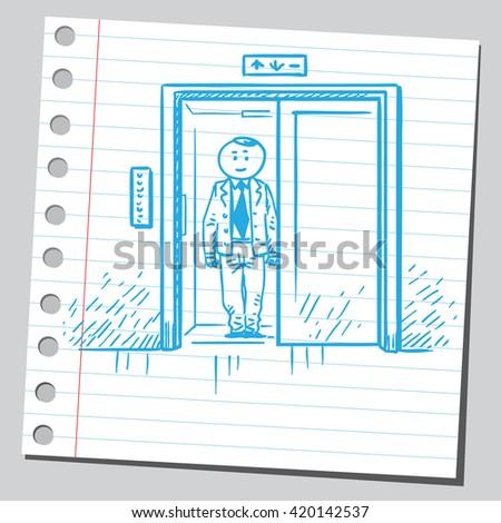 Businessman in elevator - stock vector