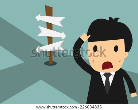 Businessman in front of a choice  - stock vector