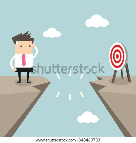 Businessman in front of a gap and looking into the empty space underneath vector - stock vector