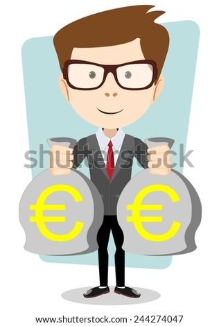 Businessman in hands holds two full bag euro, vector illustration - stock vector