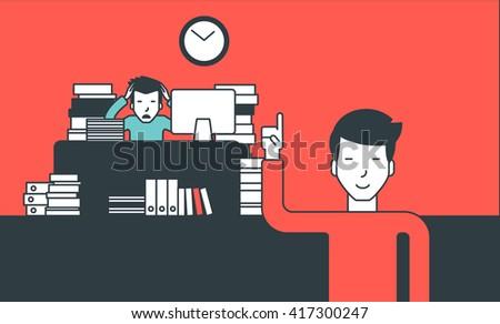 Businessman in hard working. - stock vector