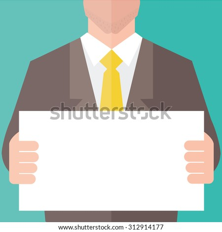 Businessman in suit holding blank banner. Flat design. - stock vector