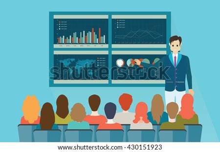 Businessman in suit making presentation explaining charts on board, Business seminar in flat style conceptual vector illustration. - stock vector