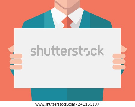 Businessman, in suit man, holding blank banner. Flat design with full head of character in clipping mask layer.   - stock vector