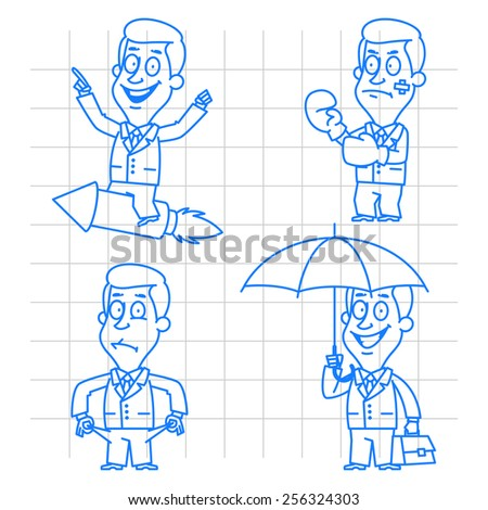 Businessman in various poses doodle - stock vector