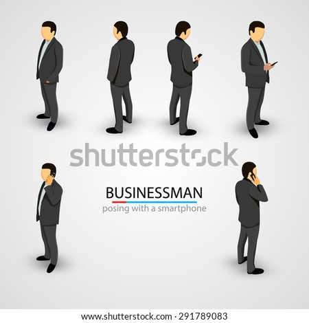 Businessman in various poses with mobile phone. Vector illustration - stock vector