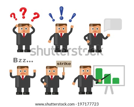Businessman in various situations - stock vector