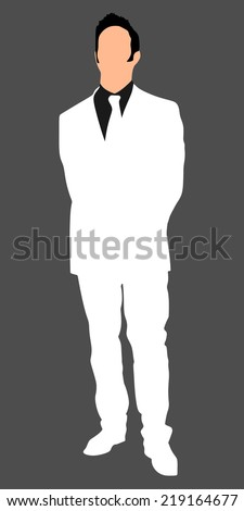 Businessman in white suit standing straight and holding his hands behind his back, vector  - stock vector