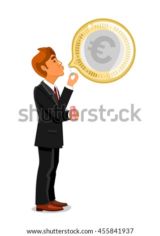 Businessman inflating or blowing a bubble with euro currency. Danger of economy and commerce crashing due to credit or inflation crisis concept - stock vector