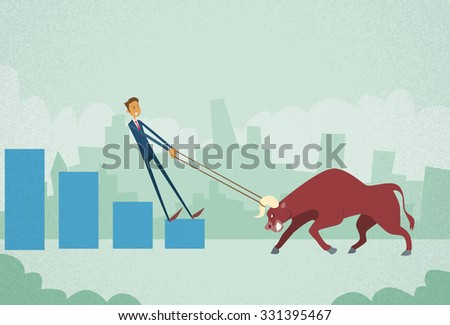 Businessman Investor Shares Market Trader Hold Bull Push Up Stock Exchange Concept Finance Business Broker Graph Vector Illustration - stock vector