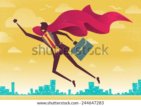 Businessman is a Superhero. Businessman flies off to rescue another business deal that is need of his super powers. - stock vector