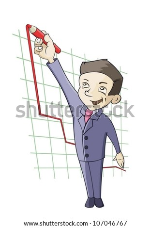 Businessman is drawing the diagram - stock vector