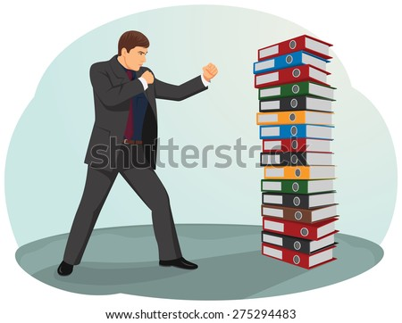 Businessman is fighting against the file folders stack - stock vector